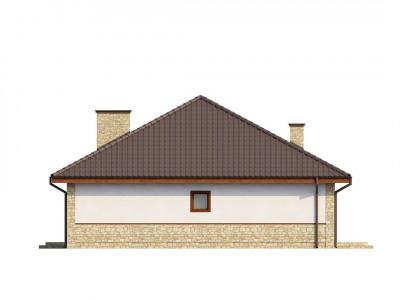 Z10 - Одноэтажный дом с многоскатной кровлей, эркером и камином на террасе.