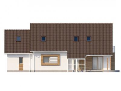 Z103 - Проект просторного функционального дома с мансардой, гаражом для одной машины и дополнительной спальней на первом этаже.