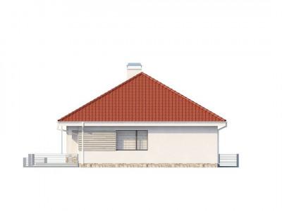 Z141 - Проект компактного и функционального одноэтажного дома с фронтальным расположением дневной зоны.