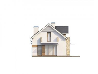 Z157 - Практичный и стильный дом с эркером и мансардным окном, подходящий для продольного участка.