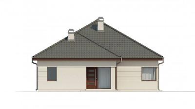 Z195 - Просторный одноэтажный дом с многоскатной крышей, угловым окном и угловой террасой в дневной зоне.