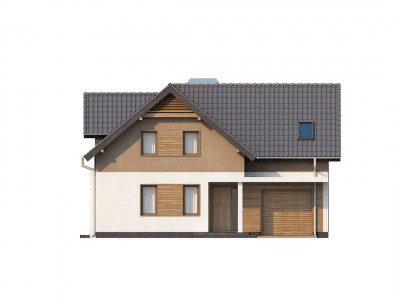 """Z197 - Проект удобного функционального дома с мансардой и гаражом """"Т""""-образной формы."""