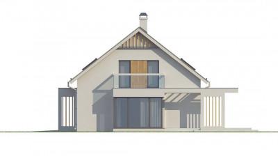 Z235 - Стильный дом с гаражом для одной машины, со стеклянным эркером и балконами.