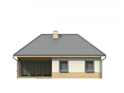 Z24 - Практичный одноэтажный дом с многоскатной кровлей и угловым окном в кухне.