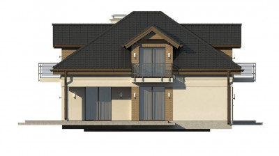 Z283 - Проект дома с мансардой, с кабинетом на первом этаже и гаражом.