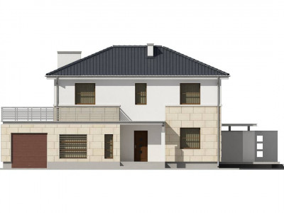 Z29 - Современный двухэтажный дом простой формы с террасой на втором этаже.