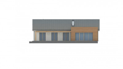 Z312 - Комфортный функциональный одноэтажный дом  простой формы и с гаражом для двух авто.
