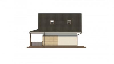 Z362 - Небольшой мансардный дом с верандой, подойдет для строительства на узком участке.