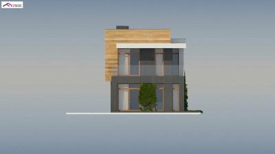 Z397 - Проект двухэтажного дома в стиле кубизм, подходит для строительства на узком участке.