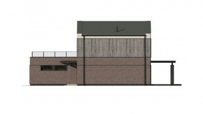 Z398 - Двухэтажный проект дома с гаражом расположенным фронтально. Подойдет для узкого участка.