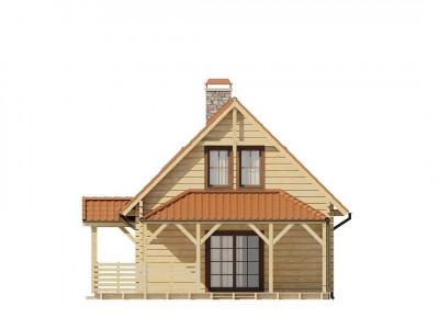 Z57 - Проект небольшого дома с мансардой, с крытой боковой террасой.