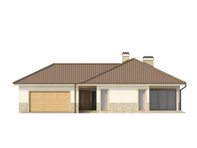 Z80 - Одноэтажный дом в скандинавском стиле с дополнительной фронтальной террасой и гаражом на две машины.