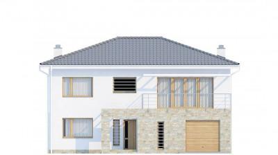 Zx4 - Двухэтажный дом с гаражом для одной машины, с интересным оформлением входной зоны.