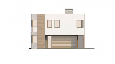 Zx41 - Практичный двухэтажный дом в стиле модерн с обширной террасой над гаражом.