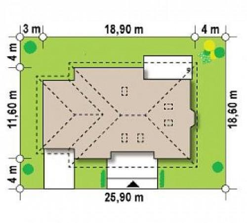 Z10 D sdu GL - Версия проекта Z10 с гаражом с левой стороны и с лестницей, ведущей на второй этаж.
