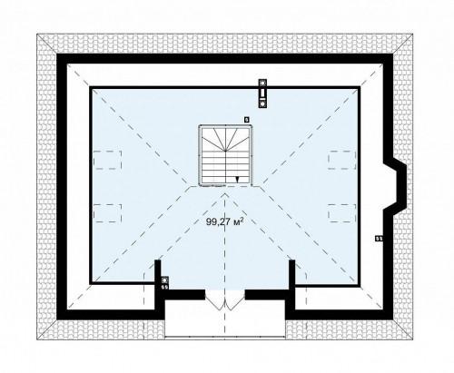 Z10 stu bk - Комфортный дом с открытой мансардой в традиционном стиле (версия проекта Z10)