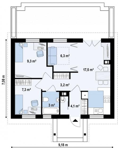 Z11 - Маленький одноэтажный дом с двускатной кровлей, недорогой в строительстве и эксплуатации.