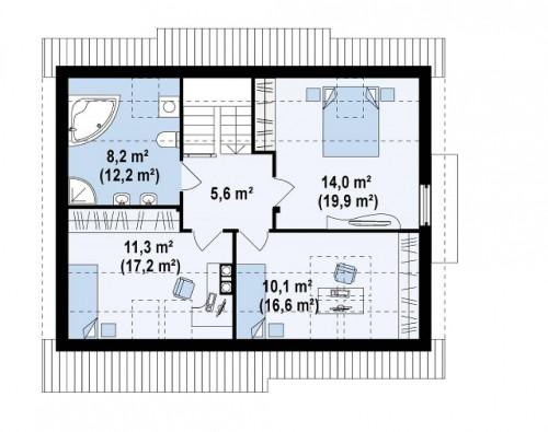 Z113 - Функциональный дом с кабинетом на первом этаже, удобный для участка с южным въездом.