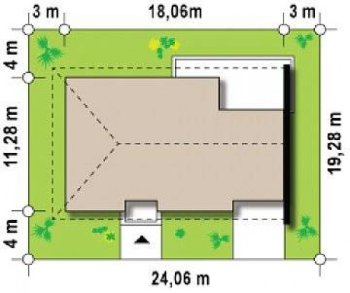 Z123 ZBL - Проект дома для симметричной застройки на основе проекта Z123.