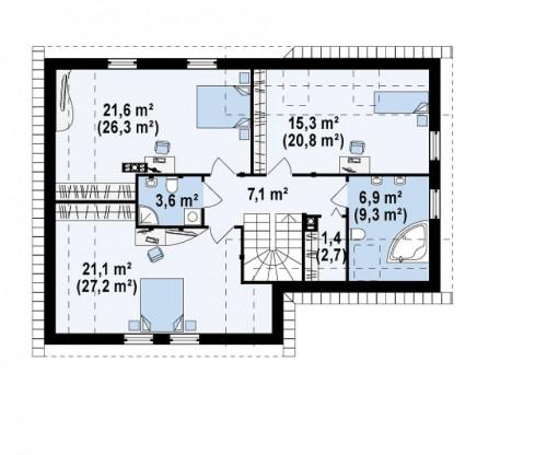 """Z125 - Практичный дом """"L""""-образной формы с гаражом на одну машину и дополнительной спальней на первом этаже."""
