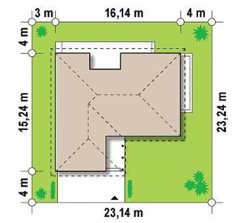 Z144 - Проект одноэтажного c гаражом для двух авто, с возможностью обустройства мансарды.