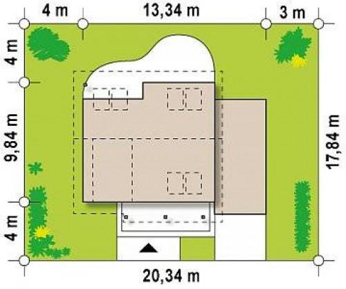 Z146 GP - Вариант мансардного проекта Z146 c  гаражом с правой стороны