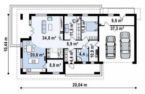 Z161 - Просторный и комфортный дом со встроенным гаражом и двумя спальнями на первом этаже.