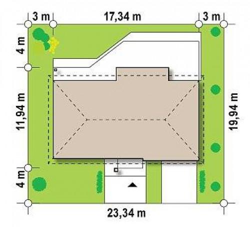 Z165 - Проект одноэтажного дома с гаражом, с четко выделенной приватной зоной.