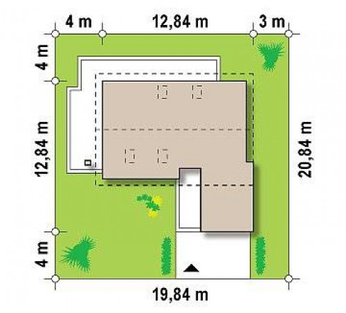 Z168 - Проект дома с мансардой, с выступающим фронтальным гаражом.