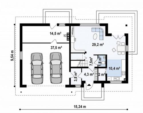 Z172 GL2 - Вариант типового проекта Z172 c добавленным гаражом для двух машин