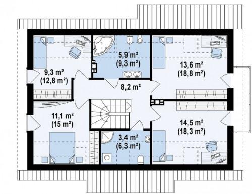 Z178 a - Версия проекта Z178 с дополнительной комнатой на первом этаже.