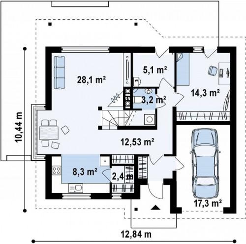 Z186 - Практичный дом с мансардой, гаражом, кабинетом на первом этаже и стильным эркером.