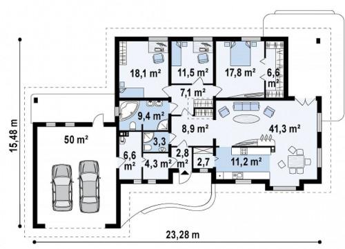 Z21 - Проект одноэтажного дома с просторной гостиной и гаражом для двух машин.