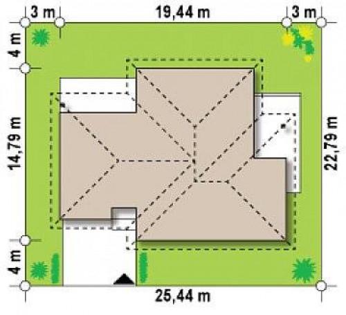 Z22 - Проект комфортного одноэтажного дома с гаражом, с многоскатной крышей.