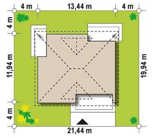 Z230 - Проект комфортного одноэтажного дома с оригинальными фасадными окнами на чердаке.