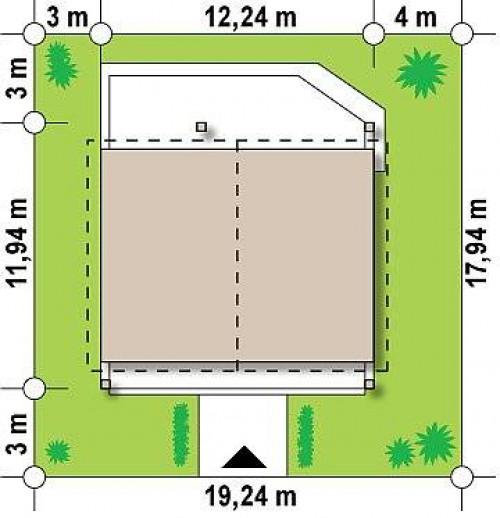 Z242 - Одноэтажный дом с дополнительной фронтальной террасой.
