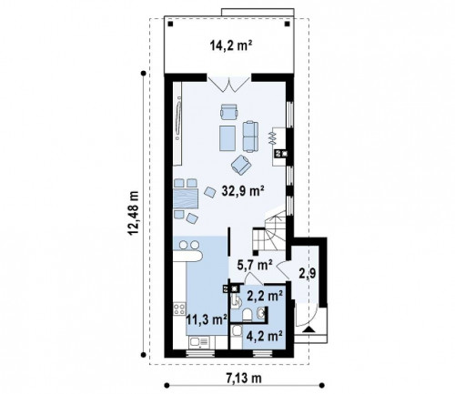 Z25 - Проект двухэтажного дома для очень узкого участка.