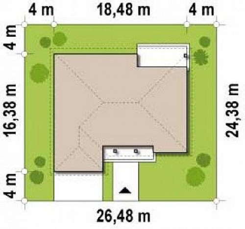Z26 - Одноэтажный дом с фронтальным гаражом для двух автомобилей.