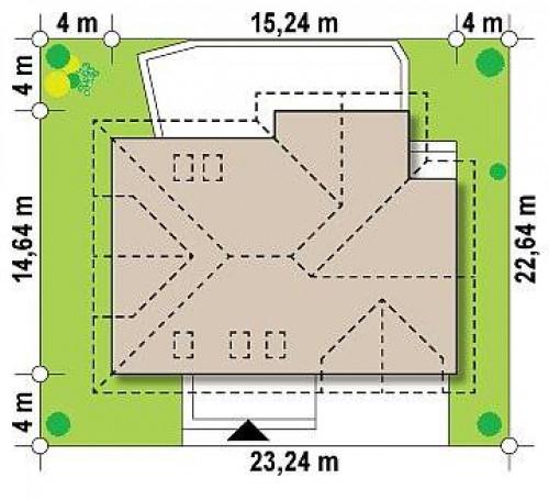 Z272 - Просторный дом с большими фасадными окнами, с гаражом для двух автомобилей.