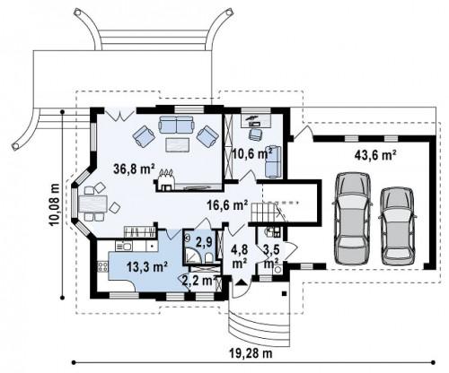 Z28 L GP2 - Версия проект Z28 в зеркальном отображении, с гаражом на два авто.