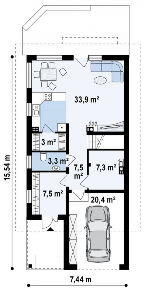 Z299 - Дом простой формы с двускатной кровлей, с террасой над гаражом, также для узкого участка.