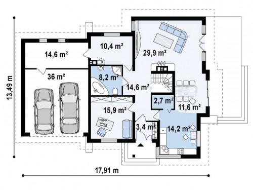 Z31 - Проект традиционного дома с гаражом для двух машин и боковой террасой.