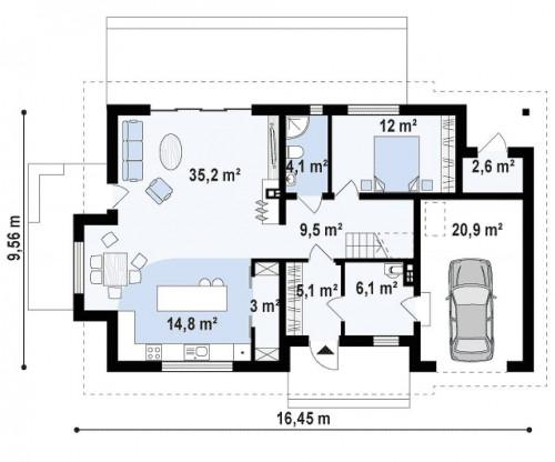Z318 - Дом с двускатной кровлей, с гаражом для одного автомобиля.