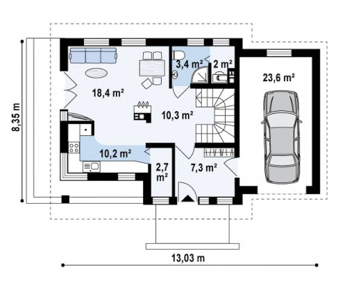Z33 - Практичный дом с гаражом, с красивым мансардным окном и боковой террасой.