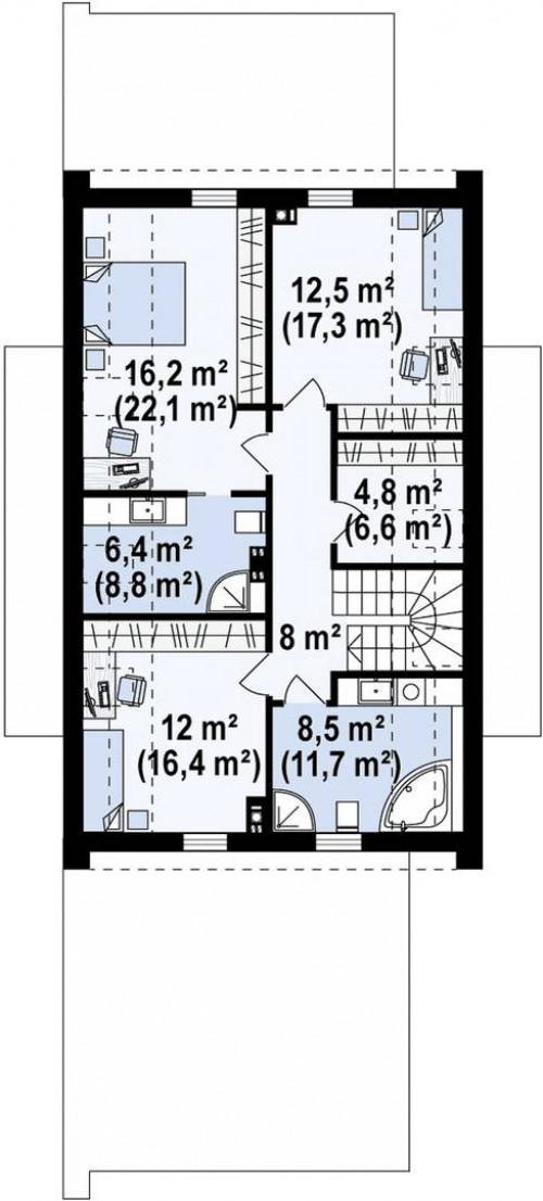Z330 P - Проект удобного и красивого мансардного дома с гаражом на 2 машини и 3 спальнями.