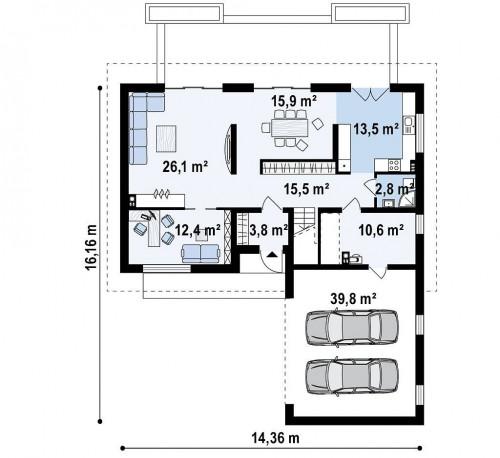 Z358 - Cтильный мансардный дом с гаражом для двух машин