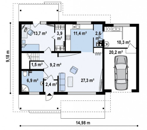 Z36 - Дом со входом с южной стороны, с большой террасой на втором этаже.