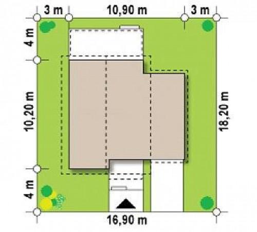 Z38 D GP - Проект двухэтажного дома с гаражом справа и с деревом на фасадах