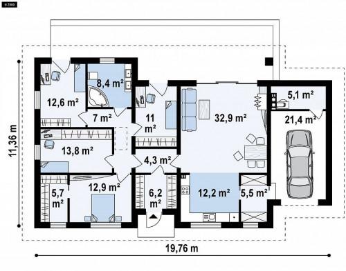 Z380 - Прекрасный одноэтажный дом в современном стиле и гаражом на одну машину.