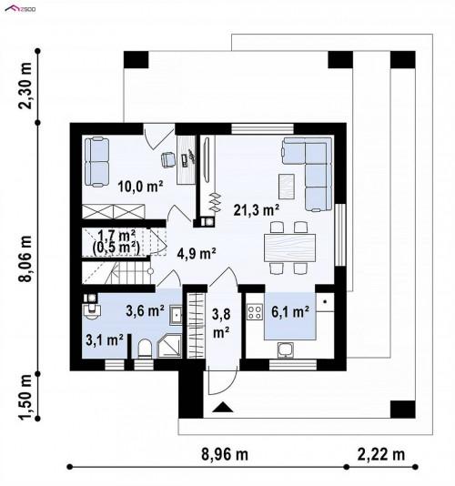 Z382 - Компактный проект мансардного дома с двускатной кровлей и тремя спальнями